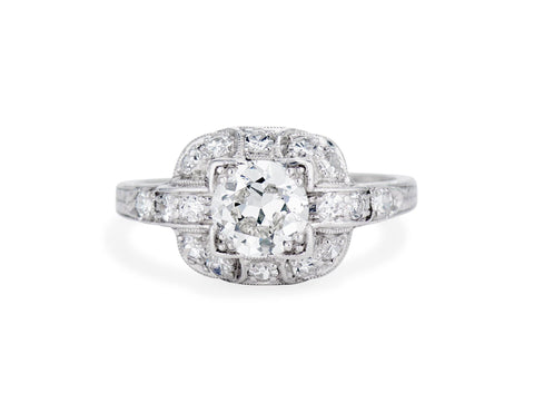 Art Deco .85 Carat Transitional Cut Diamond Ring