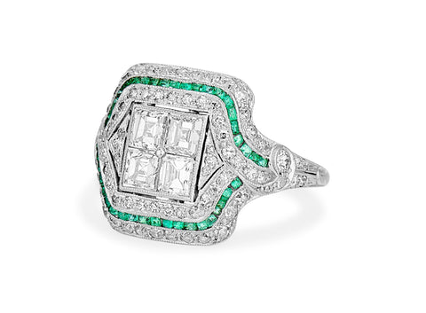 Art Deco Carre Cut Diamond & Emerald Ring