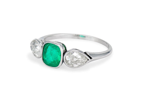 Art Deco Cushion-Cut Colombian Emerald and Diamond Three Stone Ring