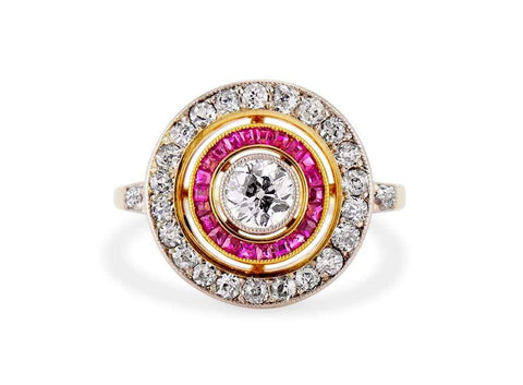 Art Deco Diamond & Ruby Target Ring