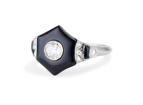 Art Deco Hexagonal Onyx and Diamond Ring