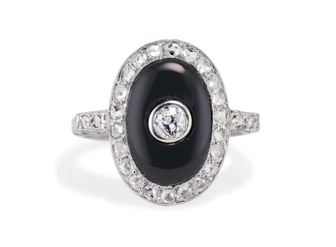 Art Deco Onyx Diamond and Platinum Ring