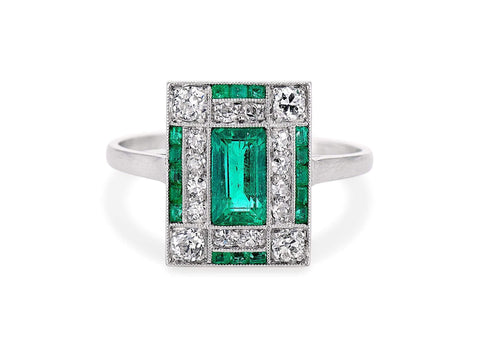Art Deco Rectangular Cut Emerald & Diamond Ring
