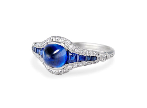 Art Deco Sugarloaf Cabochon Sapphire and Diamond Ring