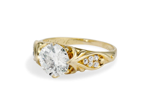 Art Nouveau 2.08 Carat Old European Cut Diamond Gold Engagement Ring