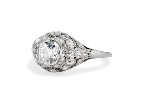 Belle Époque 1.04 Carat Old European Diamond & Platinum Bombé Engagement Ring