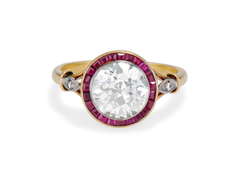 Belle Époque 2.51 Old European Diamond and Ruby Surround Engagement Ring, France