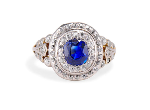 Belle Epoque .60 Carat Unheated Sapphire and Diamond Ring
