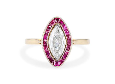 Belle Époque French .77 Carat Marquise Cut Diamond and Ruby Engagement Ring