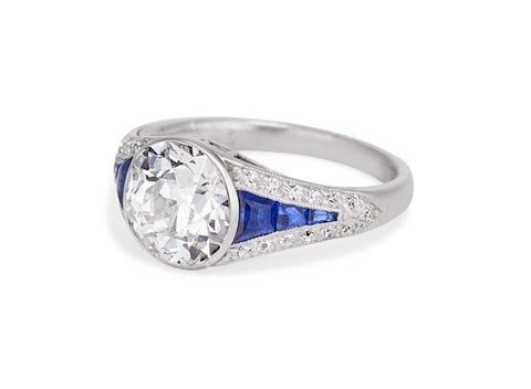 Boucheron Paris Art Deco 1.94 Carat Diamond & Sapphire Ring