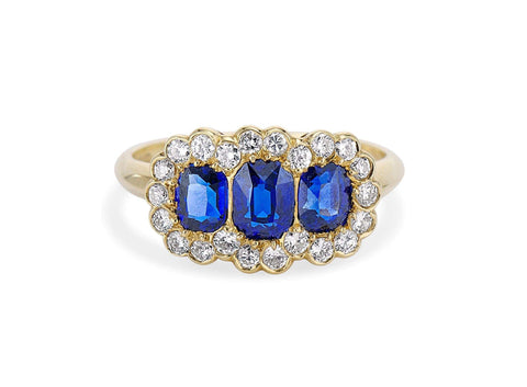 British Victorian Three Stone Sapphire Ring in Gold