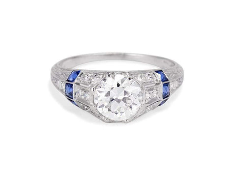 C. D. Peacock Art Deco 1.37 Carat Diamond & Sapphire Ring