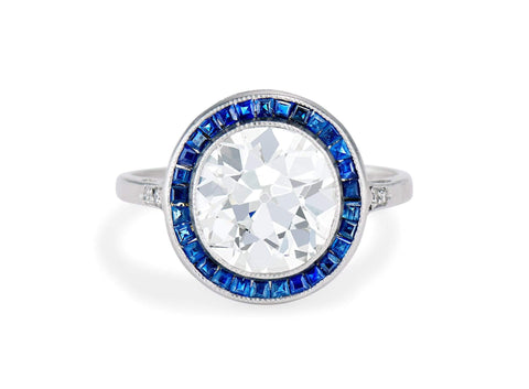 Early Art Deco 3.15 Carat Diamond and Sapphire Halo Ring