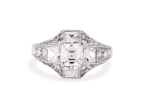 Early Art Deco .80 Carat Asscher Cut Diamond Ring