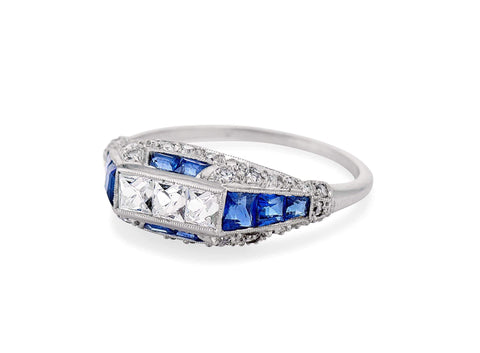 Early Art Deco French Cut Diamond & Sapphire Ring