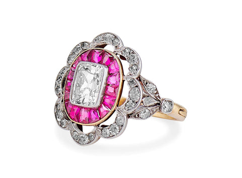 Edwardian One Carat Old Mine Cut Diamond & Ruby Scalloped Ring