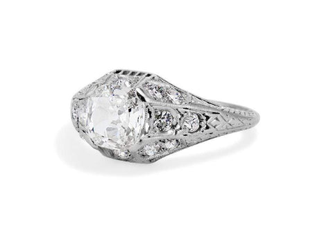 Edwardian 1.02 Carat Old Mine Cushion Cut Diamond Filigree Ring
