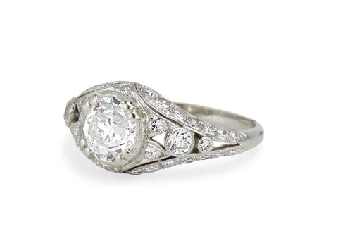 Edwardian 1.06 Carat Diamond Filigree Ring