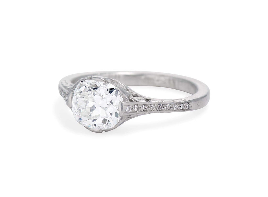 Edwardian 1.13 Carat Old Mine Cushion Cut Diamond Ring