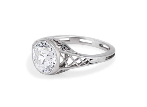 Edwardian 1.30 Carat Old European Cut Diamond Ring
