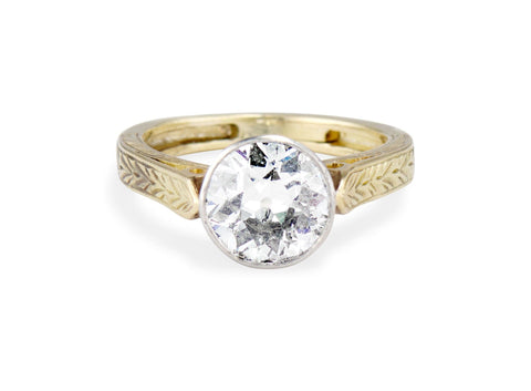 Edwardian 1.44 Carat Old European Cut Diamond Solitaire Engagement Ring