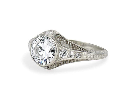 Edwardian 1.60 Carat Diamond Filigree Ring