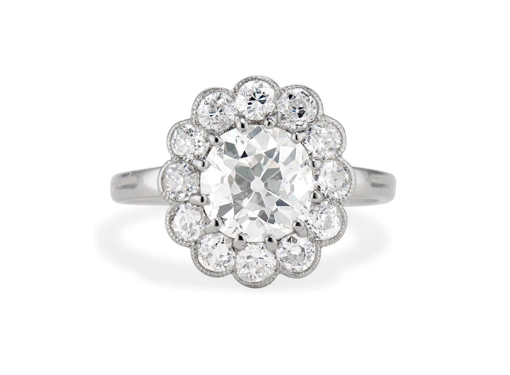 Edwardian 1.73 Carat Old European Diamond Cluster Engagement Ring
