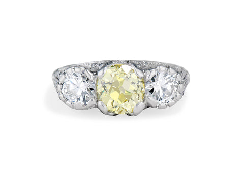 Edwardian 2.03 Fancy Yellow Diamond Engagement Ring