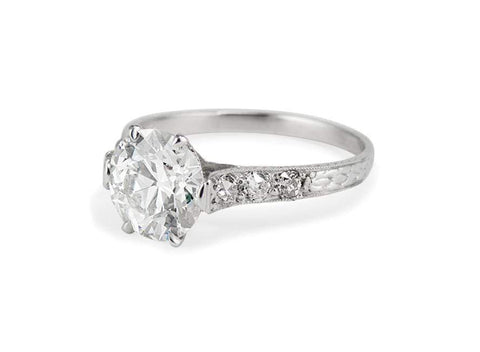 Edwardian 2.16 Carat Old European Cut Diamond Ring