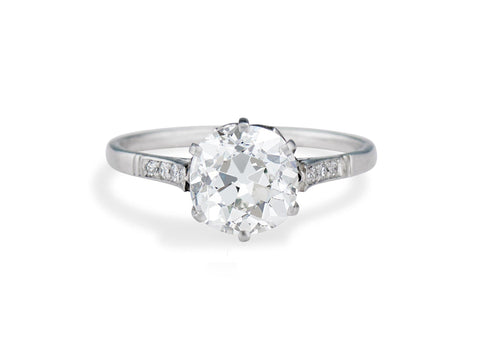 Edwardian 2.27 Carat Cushion Cut Diamond Engagement Ring