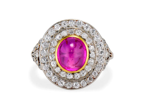Edwardian 2.80 Carat Cabochon Burma Ruby & Diamond Cluster Ring
