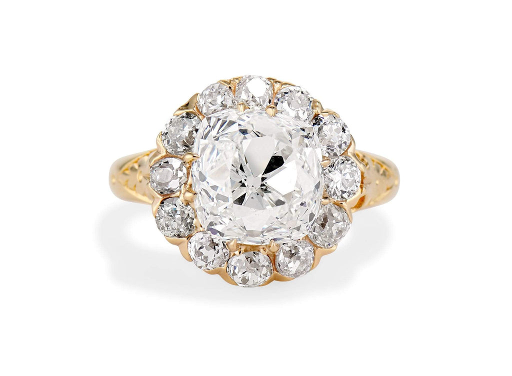 Edwardian 4.20 Old Mine Cushion Cut Diamond Engagement Ring, England