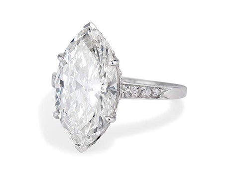 Edwardian 4.52 Carat Marquise Diamond Ring