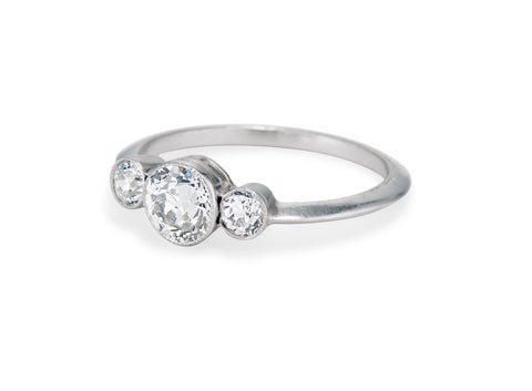 Edwardian .51 Center Old European-Cut Diamond Three-Stone Ring
