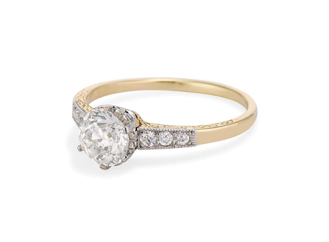 Edwardian .81 Carat Old European Cut Diamond Engraved Two Tone Ring