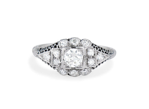 Edwardian Diamond and Platinum Cluster Engagement Ring