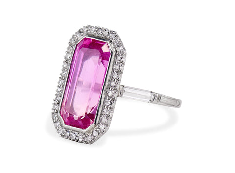 Edwardian Emerald Cut Pink Topaz and Diamond Ring