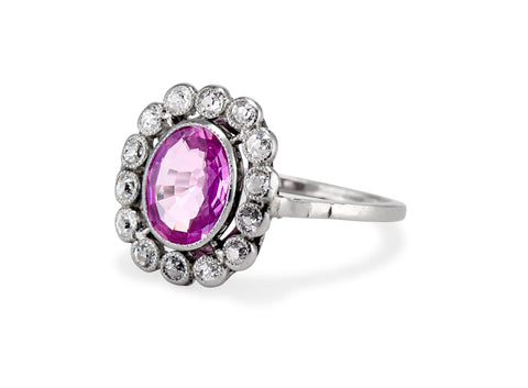 Edwardian Oval-Cut Pink Sapphire & Diamond Cluster Ring, France