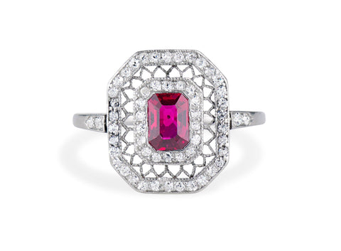 Edwardian Ruby and Diamond Engagement Ring