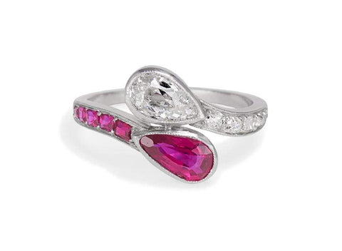 Edwardian Pear-Shaped Untreated Burma Ruby & Diamond Toi-et-Moi Ring