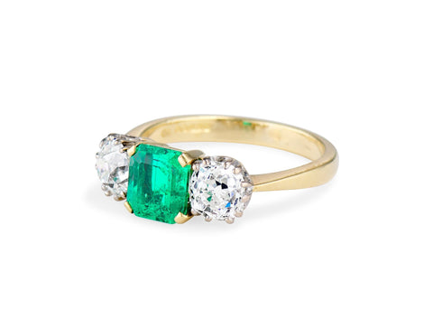 Emerald and Diamond Three Stone Engagement Ring