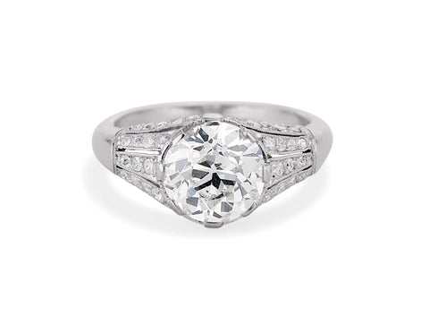 French Art Deco 2.21 Carat Old European Cut Diamond Ring
