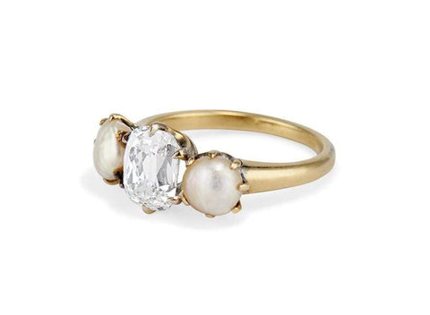 Late Victorian 2.03 Carat Old Mine Cushion Cut Diamond & Natural Pearl Ring