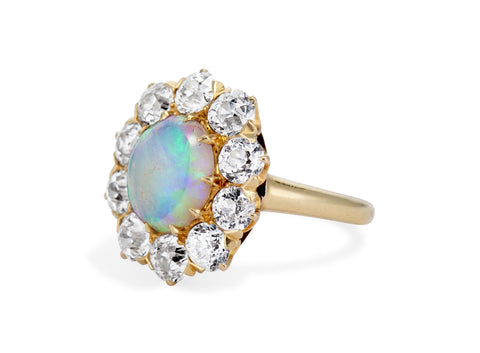 Late Victorian Opal & Diamond Cluster