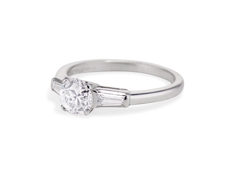 Mid-Century 1.05 Carat Transitional Cut Diamond Solitaire