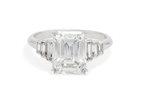 Mid Century 3.23 Carat Emerald Cut Engagement Ring