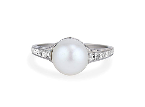 Tiffany & Co 1920s Natural Pearl Diamond Ring