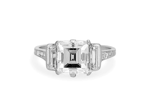 Tiffany & Co. Art Deco 2.45 Carat Rectangular Cut Diamond Ring