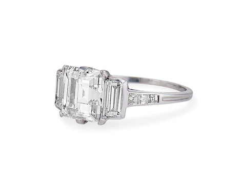 Tiffany & Co Art Deco 2.45 Carat Rectangular Cut Diamond Ring