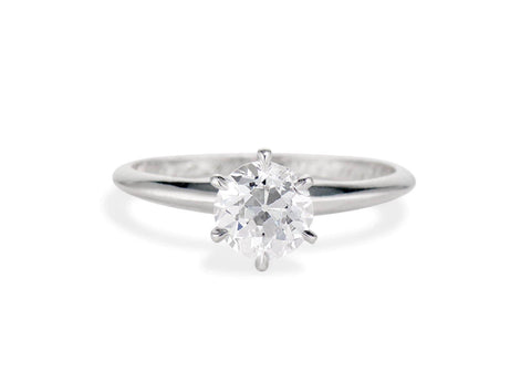 Tiffany & Co. MId-Century 1.10 Carat Old European Diamond Solitaire Engagement Ring, America